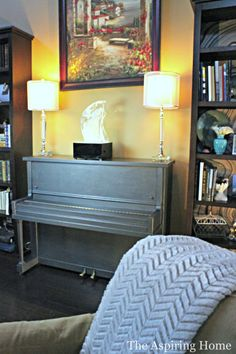 Glam Piano Makeover with Steel Gray Metallic Paint and MasterClear® Protective Topcoat | Aspiring Home blog