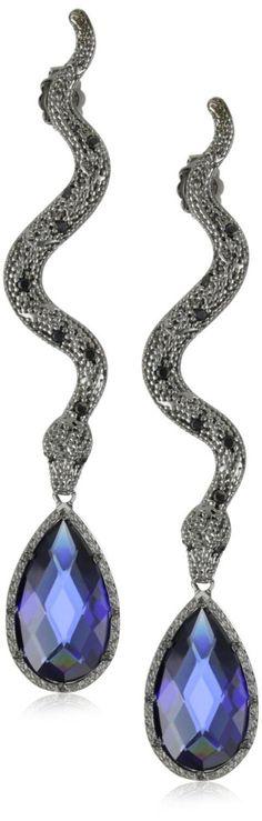 "Rebecca ""Manhattan"" Black Rhodium Snake Earrings"