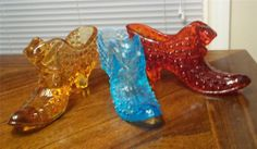 3 Beautiful Vintage Fenton Glass Slippers - Ruby Red Gold & Blue