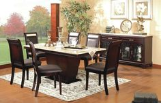 This classic and luxurious 7 Pcs Marble Dining Set offers a beautiful and earthy design to turn your home into a more extravagant room for your family. The marble top and dark cherry finish will enhance your dining room and is easy to match with any other furniture you already have. It is supported by a strong base and the chairs are upholstered in faux leather w/ matching faux marble on the top panel of the chair.