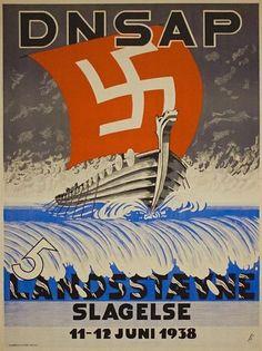 DNSAP (Dänische Nationalsozialistische Arbeiterpartei) poster. Circa 1938.