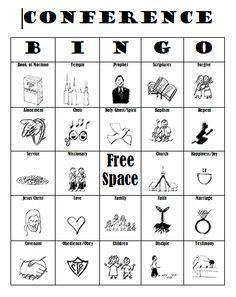 General Conference Bingo!!! Keep the kids entertained, let yourself pay attention! This girl has created 6 different bingo cards you can download for free and print off. What a GREAT idea!! I don't have kids yet but am pinning for later. Fabulous Fixes Blog.