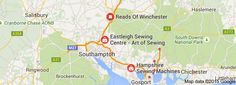Map of Sewing Machine Shops in Hampshire