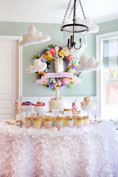Unicorn themed dessert table from a Magical Unicorn Art Birthday Party on Kara's Party Ideas   KarasPartyIdeas.com (22)