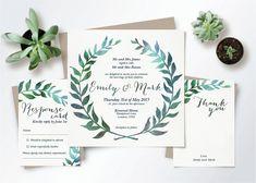 Watercolor Wedding Invitation Leaves Wreath Set - Square - Customized Invite Suite Digital Printable Template Rustic Boho Botanical Woodland