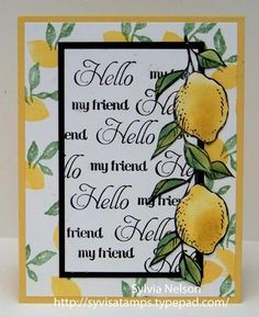 hand crafted greeting card ... lemons ... triple mat ... great design ... fresh look ...