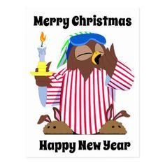 Merry Christmas Sleepy Owl Happy New Year Postcard - animal gift ideas animals and pets diy customize
