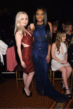 Dove Cameron and Kayla Brianna attend the Sherri Hill NYFW Fall Simple Summer Dresses, Nice Dresses, Prom Dresses, Beautiful Celebrities, Beautiful Actresses, Dove Cameron Style, Chloe, Famous Girls, Beautiful Gowns