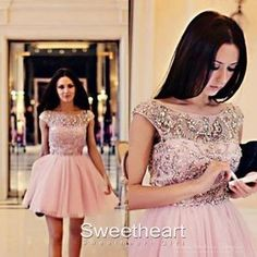 Cute round neck Tulle Short Homecoming Dress, Prom Dress