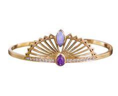 Sensu Fan Cuff Bracelet with Diamonds