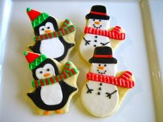 Penguin and snowman cookies