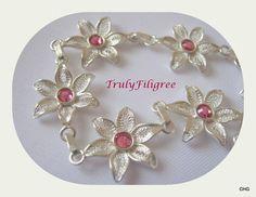 Handmade Sterling Silver Filigree Floral Bracelet by TrulyFiligree