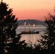 """Ikke det beste nattbildet, men dog - litt stemning fra sist natt da skipene fra """"Tall Ships Race"""" begynte å komme til byen - jeg liker å sitt på terrassen og nyte sommernatten, og da er det utrolig vakkert å få oppleve dette :) -Not the best photo,but I enjoy the summernights on the terrace,and to see this wonderful sight is a great experience to me :) """"Margeritten"""" by IJ 24.7.14"""