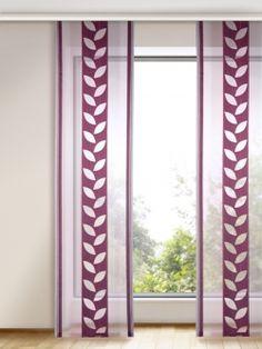 Beautiful Stilvoll und zeitlos sch n Beerenfarbene Schiebevorhang mit Blattmotiv Gardinen Outlet