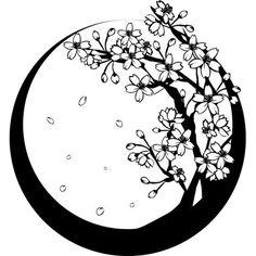 白黒の桜の木和風/春の無料イラスト