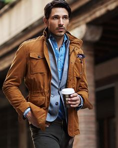 An earthy color palette with a hint of blue for a refined effortless look, HE by Mango FW 2013