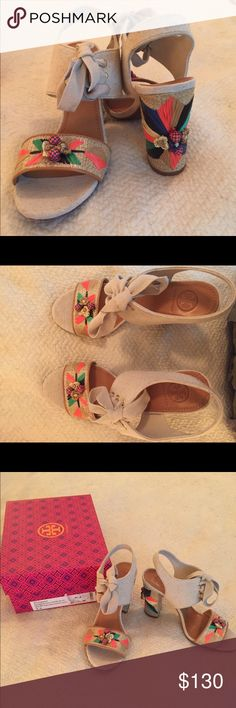 """Tory Burch raffia heeled sandals size 7.5. These were worn once and show little wear!  Linen look fabric with raffia and embroidery.  Heel is 4"""" Tory Burch Shoes Sandals"""