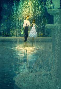 Love, rain, beautiful dress / Amore, pioggia, bel vestito - Illust: #PascalCampion #pascalcampionart