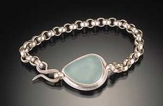 Silver Bracelet with Beach Glass, created by:  Amy Faust