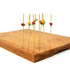 Bamboo skewer holder holds 18 1 pc pack bamboo skewers for Canape holders