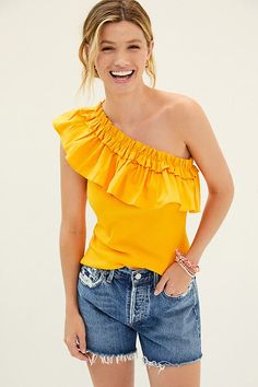 Ruffled One-Shoulder Top By Porridge in Gold Size S One Shoulder Tops, Cute Tops, Women's Tops, 50 Fashion, Summer Evening, Printed Skirts, Anthropologie, Fashion Forward, Pullover