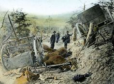 Union Army General Samuel Heintzelman inspects wreckage. Heintzelman was a prominent figure in the early months of the war, rising to the command of a corps.