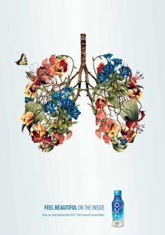 """アメリカで人気のZICOココナッツウォーターが実施したプリント広告をご紹介。 美容と健康によいとされるココナッツウォーターの魅力を、ほぼ1イラストだけで端的に表現しました。全3種類。 ・肺編 ・脳編 ・心臓編 人間の肺、脳、心臓がそれぞれ美しい花々で形作られたイラストです。 コピーは… Feel beautiful on the inside. (体内から美しくなるのを感じてください。) """"内から美しくなる""""というメッセージを、人間にとってなくてはならない""""臓器が美しい花にかわる""""という喩えで表しています。見るものの感性に訴える"""