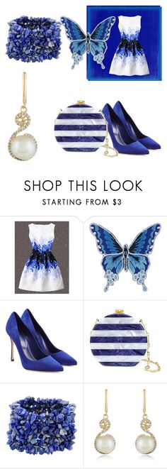 """""""shein leaf print dress"""" by shannongarner ❤ liked on Polyvore featuring Sergio Rossi, Edie Parker and Effy Jewelry"""