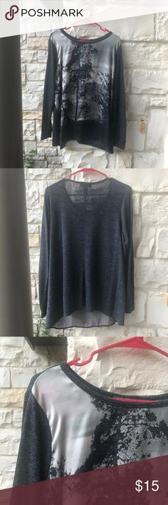 {forever 21} plus size forest top🍁 Plus size long sleeved top from Forever 21! The overall shirt is a dark grey color with  the front containing a picture of a few darker grey trees. The shirt is very comfortable and is available in a 2X. Feel free to make an offer on it! Forever 21 Tops Tees - Long Sleeve