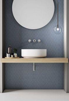 Pin for Later: Stylish Lighting For Homes. Blue tile, bathroom, modern bathroom, vessel sink, pendant over vanity. Bad Inspiration, Bathroom Inspiration, Bathroom Light Fixtures, Bathroom Lighting, Bathroom Mirrors, Remodel Bathroom, Bathroom Remodeling, Vanity Lighting, Bathroom Wallpaper