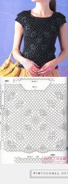 Crochet Lace Black Top ~~ crochelinhasagulhas: Blusa preta de crochê
