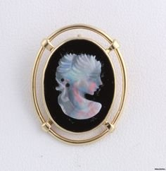Unique Genuine Onyx & Carved Opal Cameo Pendant - 14k Yellow Gold Vintage 4.9g | eBay