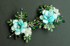 2 pcs Floral Hair Clip for Wedding, Bridesmaid Flower Accessories, Blue/Turquoise Jewelled and Beaded Hair Pin - Maya