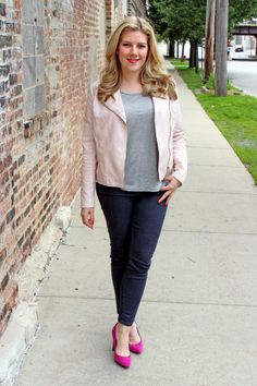 Pink Moto Jacket, with grey t-shirt and jeans