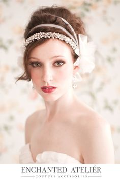 New Enchanted Atelier Aleksandra Headband. Credits: Emme Wynn-Photography, Liz Wegrzyn-MUA, Aleksandra Ulanowicz-Hair, Rachel MacKay-Model, Dress by Sarah Seven at Soliloquy Bridal, Headpiece by Enchanted Atelier-
