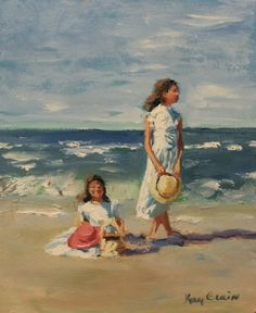 Two Sisters on the Beach, painting by artist Kay Crain