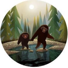 Bigfoot and Baby Bigfoot walking together across a lake. Artwork by Joey Chou. Joey Chou, Dragons, Finding Bigfoot, Bigfoot Sasquatch, Bigfoot Pics, Baby Clip Art, Cute Illustration, Making Ideas, Concept Art
