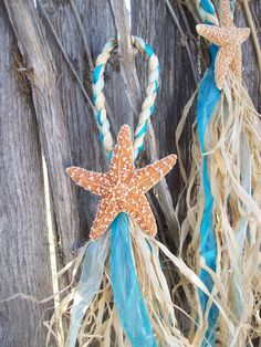 Beach Wedding, Starfish Chair Hangers, Small Starfish and Raffia Decorations, Choose your Ribbon, Destination Wedding on Etsy, $11.00