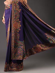 Buy Dark Purple Georgette Sequins Hand Embroidered Saree by Ekaya Online at Jaypore.com