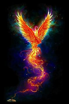 """From the Last Spark"" colorful version. The design is available as t-shirt www. Phoenix Artwork, Phoenix Wallpaper, Phoenix Images, Phoenix Drawing, Phoenix Bird Tattoos, Phoenix Tattoo Design, Mythical Creatures Art, Magical Creatures, Dark Fantasy Art"