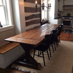 Trestle X Farmhouse Table with Reclaimed by WoodenWhaleWorkshop *CUSTOM: stain, shape, size Will ship