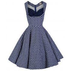 LINDY BOP 'OPHELIA' VINTAGE 1950's BLUE POLKA DOT PARTY PICNIC DRESS
