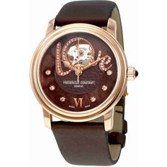 Frederique Constant Chocolate Guilloche Mother of Pearl Leather Ladies... ($1,095) ❤ liked on Polyvore featuring jewelry, watches, rose jewelry, leather watches, skeleton wrist watch, crown jewelry and roman numeral watches