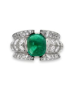 A French Emerald, Diamond and Platinum Dress ring Emerald Diamond, Diamond Cuts, Emerald City, Jewelry Rings, Fine Jewelry, Jewellery, Emerald Jewelry, Emerald Rings, Antique Jewelry