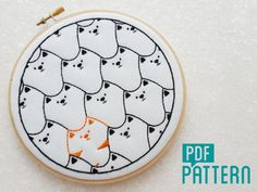 Cats, Cats, Cats Instant Download Embroidery Pattern PDF   ☆ SPECIAL OFFER – 20% OFF ORDERS OVER £60☆  Use coupon code 20OFF60 at checkout   ☆ The Design:  This cute and playful design features loads of black cats token a ginger one, who look to be on a mission, Im guessing, to find tuna!  Using 3 different stitches, this would be a perfect project for a beginner or intermediate stitcher.  It is the perfect size to fit in a 6 inch embroidery hoop.   ☆ You Will Receive:  • A full colour…