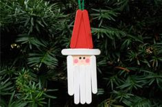 24 Christmas Crafts for Kids » Santa Popsicle Stick Ornament