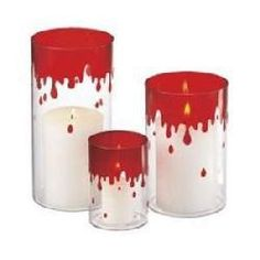Set of 3 Dripping Blood Pillar Candle Holder Halloween Decorations