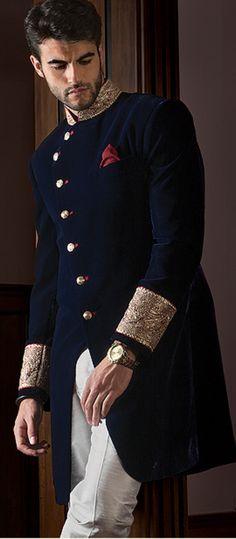Mens New Blue Wedding Designer Jacket Velvet Coat Indo Western Sherwani Blue Sherwani, Sherwani Groom, Mens Sherwani, Wedding Sherwani, Punjabi Wedding, Wedding Dress Men, Wedding Suits, Wedding Couples, Wedding Groom