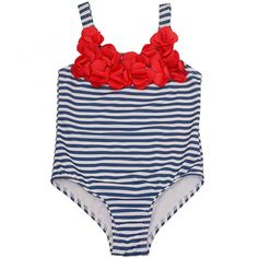 A nautical striped swimsuit from Penelope Mack just for your precious girl.