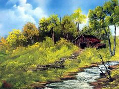 Peaceful Landscape Paintings by Bob Ross  - Bob Ross  Paintings : Meadow Stream  21